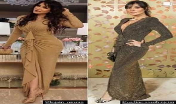 العرب اليوم - نادين نجيم ولجين عمران تتألقان بنفس الفستان