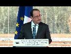 العرب اليوم - شاهد إطلاق نار بالخطأ خلال كلمة الرئيس الفرنسي فرانسوا هولاند