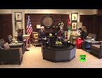 شاهد لحظة استقبال العاهل الأردني عبدالله الثاني لنائب الرئيس الأميركي