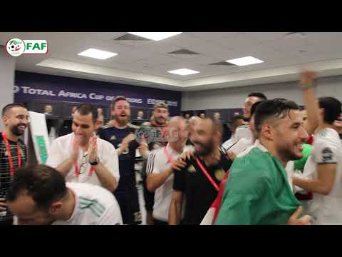 احتفال لاعبي المنتخب الجزائري بالتأهل لنهائي كأس الأمم الأفريقية 2019