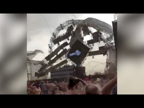 shocking moment stage collapses killing dj