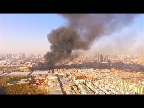 fire breaks out in warehouse
