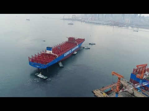 china starts construction of the countrys largest container ship