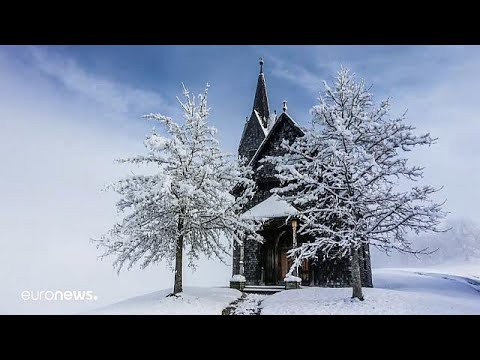 austrian town sees first snowfall of the season
