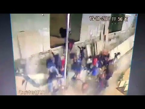 shocking moment of floor collapse