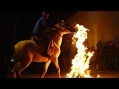 horses gallop through bonfires