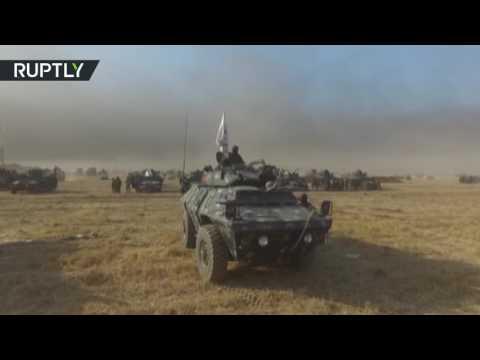 العرب اليوم - بالفيديو تصوير جوي للتشكيلات العراقية المشاركة في عملية استعادة الموصل