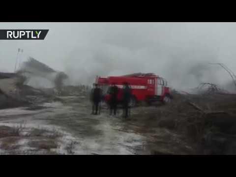 العرب اليوم - شاهد الدمار الذي سبّبه سقوط طائرة تركية في قرغيزيا