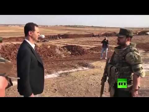 الرئيس  بشار الأسد يراقب قصف مدفعي سوري  يستهدف مواقع للمعارضة في إدلب