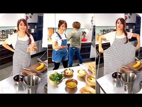 العرب اليوم - اسيل عمران تطبخ في جلسة تصوير 2017