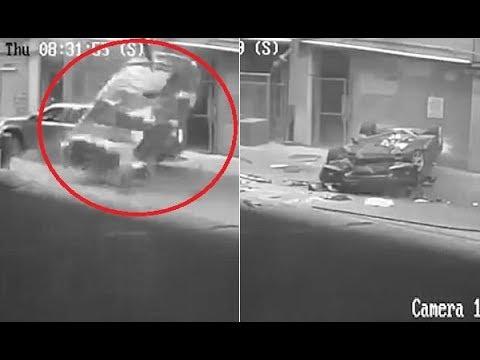 العرب اليوم - نجاة سائقة بأعجوبة بعد سقوط سيارتها من الطابق السابع
