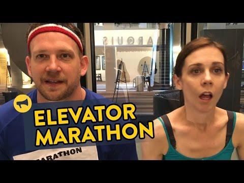 العرب اليوم - شاهد ماراثون جري في المصعد