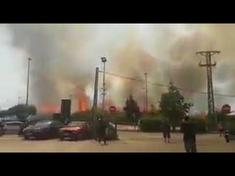 العرب اليوم - شاهد حريق ضخم في مطار برشلونة الدولي