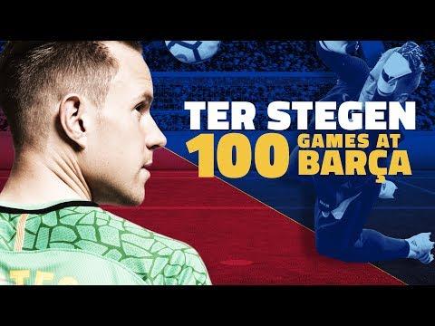 العرب اليوم - شاهد احتفالية برشلونة بخوض تير شتيغن 100 مباراة معه