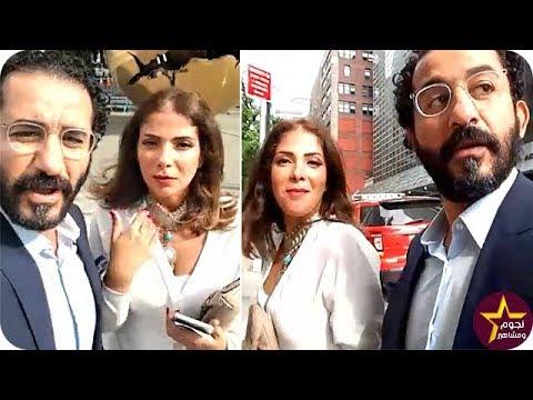 العرب اليوم - شاهد أحمد حلمي ومنى زكي خلال وجودهما أمام مبنى الأمم المتحدة