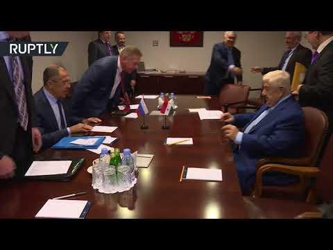 العرب اليوم - لقاء بين وزيري الخارجية الروسي سيرغي لافروف والسوري وليد المعلم