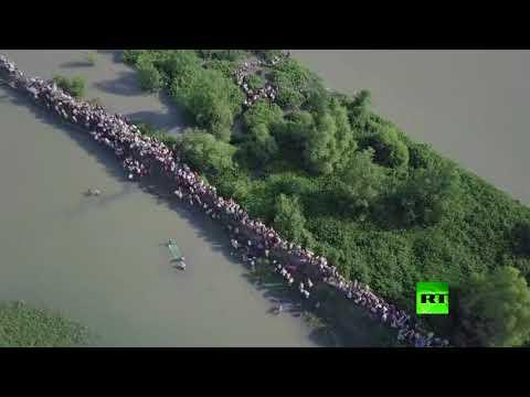 العرب اليوم - طائرة من دون طيار تراقب نزوح الآلاف من الروهينغا من ميانمار