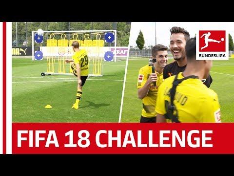 شاهد لاعبو بروسيا دورتموند يشاركون في تحدي التسديد