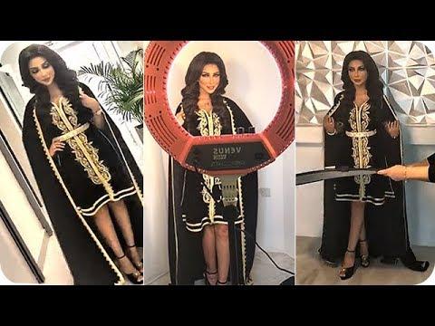 شاهد الفنانة دنيا بطمة كالملكة في القفطان المغربي العصري