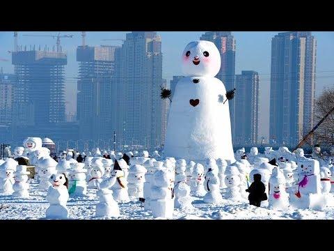 شاهد صنع الآلاف من نماذج رجل الثلج في هاربين