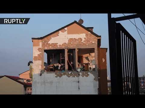 لحظة تحطم سقف مبنى جراء انفجار في مدينة إيطالية
