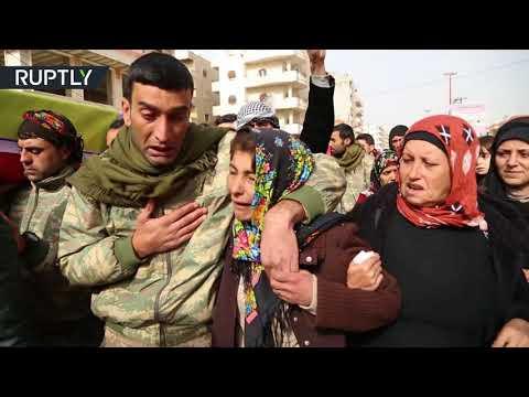 تشييع قتلى القصف التركي على عفرين السورية