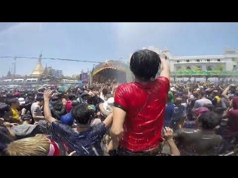 شاهد مهرجان المياه في ميانمار