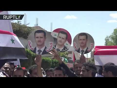 شاهد صنعاء تقيم مظاهرات تأييدًا لسورية