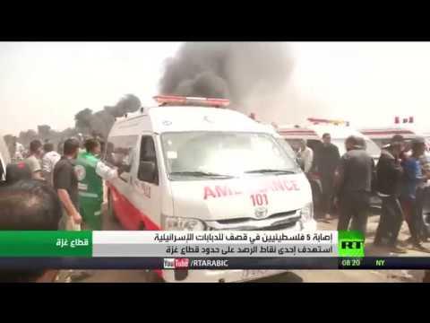 شاهد الدبابات الإسرائيلية تصيب5 فلسطينيين
