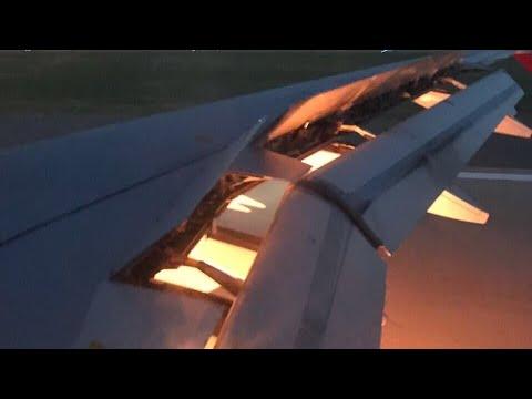شاهد المنتخب السعودي ينجو من حريق ضخم في محرك الطائرة