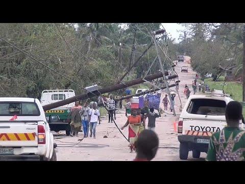تأثير الإعصار كينيث على شوارع شمال موزمبيق