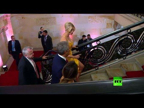 إيفانكا ترامب تخطف الأنظار بفستان أصفر في كولومبيا