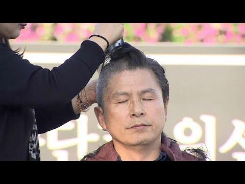 احتجاج سياسي بحلق الرؤوس في كوريا الجنوبية