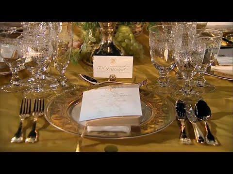 شاهد بذخ ترامب وذهبه في عشاء على شرف رئيس الوزراء الأسترالي في البيت الأبيض