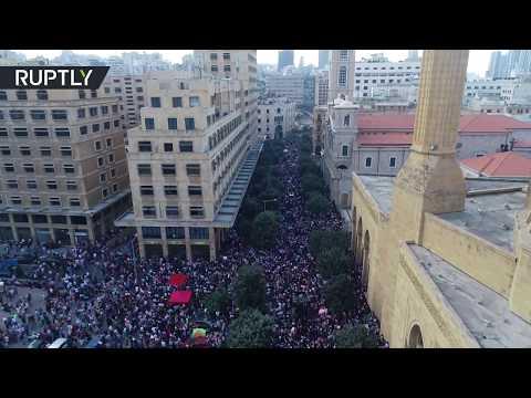 آلاف المتظاهرين في بيروت بتصوير طائرة دون طيار