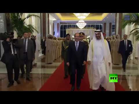 ولي عهد أبوظبي محمد بن زايد آل نهيان يستقبل الرئيس المصري