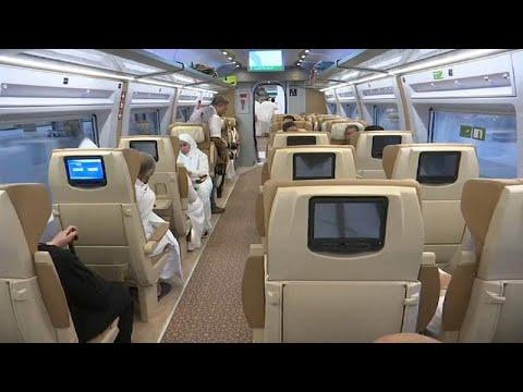 شاهد حجاج يسافرون بالقطار السريع من المدينة إلى مكة للمرة الأولى