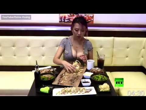 فتاة آسيوية مُقيمة في أميركا تأكل أكثر من 36 كيلوغرام سوشي