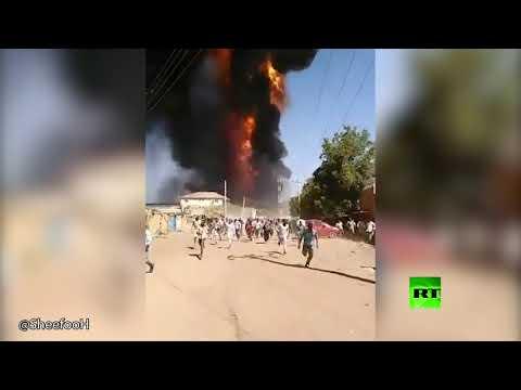 لحظة انفجار خزان الغاز داخل مصنع في الخرطوم