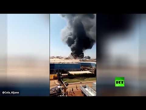 شاهد فيديو جديد للحريق الهائل في مصنع في الخرطوم