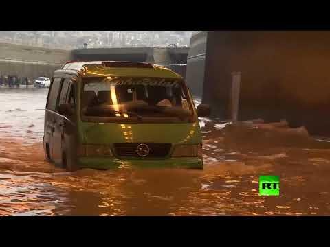 بيروت تغرق في مياه الأمطار المستمرة منذ الصباح