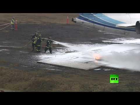 شاهد فيديو لمحاكاة إنقاذ ركاب إحدى الطائرات بعد هبوط اضطراري
