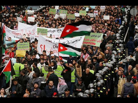 شاهد مئات الأردنيين يتظاهرون في عمان رفضًا لـاستيراد الغاز من إسرائيل