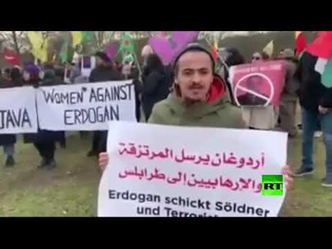 مظاهرة عربية ضد التدخل التركي في ليبيا أمام الاستشارية الألمانية