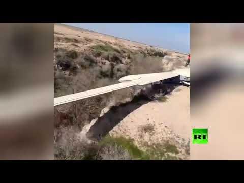 شاهد هبوط اضطراري لطائرة مسيرة إيرانية جنوب غربي إيران