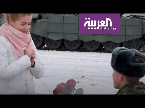 شاهد 16 دبابة عسكرية في حفل خطوبة روسي على حبيبته