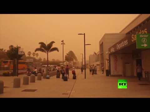 شاهد عاصفة رملية قوية تضرب جزر الكناري الإسبانية