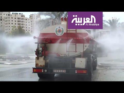 شاهد تحويل صهاريج نقل المياه إلى مضخات رذاذ لتعقيم الشوارع في فلسطين