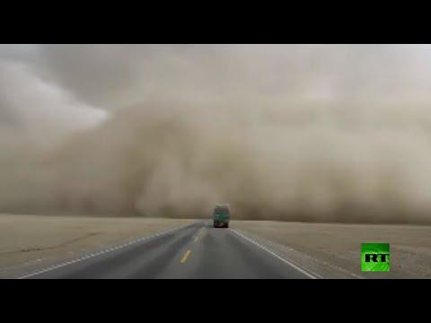 شاهد عاصفة رملية قوية تجتاح مدينة وتوميرين غربي الصين