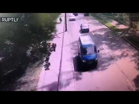 شاهد إصابة 4 أشخاص إثر سقوط شجرة على سيارتين في روسيا